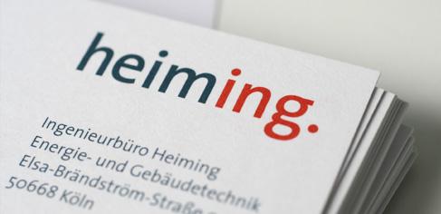 Foto einer Visitenkarte vom Ingenieurbüro Heiming